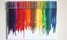 Melted crayon canvas craft