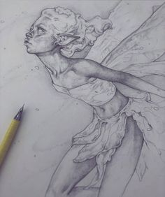 Happy Fae-bruary to all those drawing fairies and creatures alike this month! Here's a study sketch from a garden statue I bought last year and now proudly sits outside for the insects to admire and crawl upon! I may end up sketching a fe Fairy Drawings, Cool Art Drawings, Art Drawings Sketches, Drawing Ideas, Fantasy Drawings, Fantasy Kunst, Fantasy Art, Sketch 4, Fairy Sketch
