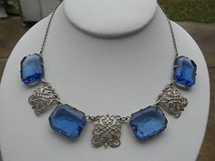 Art Nouveau Silver Filigree and Large Blue Stone Necklace