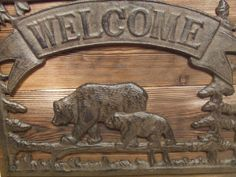 Rustic Cast Iron Bear Welcome Sign