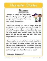 Patience reading worksheets, kids education, character education, english l English Stories For Kids, Moral Stories For Kids, English Lessons For Kids, Kids English, English English, English Language, Language Arts, Short Stories For Kids, Reading Comprehension Worksheets