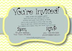 Chevron Sprinkle Diaper Baby Shower Invitation pdf - DIY print your own. $17.00, via Etsy.