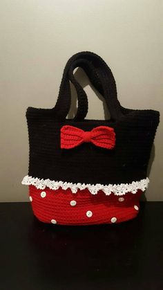 Minnie Mouse Inspired Crochet Tote Bag by LadyOfLanaCrochet Crochet Tote, Crochet Blouse, Crochet Poncho, Crochet Purses, Baby Girl Crochet, Love Crochet, Crochet For Kids, Disney Crochet Patterns, Crochet Disney