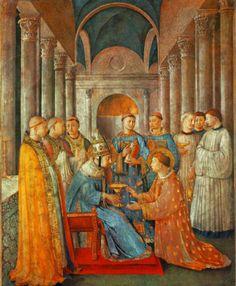"""FRA ANGELICO - """"São Sixto ordenando São Lourenço"""" 1447-9, afresco, 271x197 cm Cappella Niccolina."""