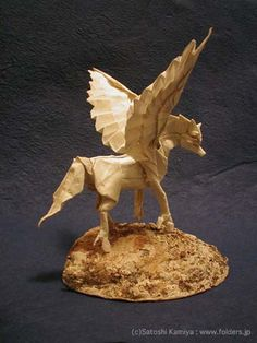 Origami Pegasus/Winged Horse Design and folded by Satoshi Kamiya, Japan
