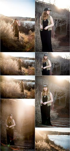 Spring in Medicine Hat - Cristal King Photography - model in long black Guess maxi dress, Demi Lovato Warrior cap and ONLY Blue Behaviour olive vest