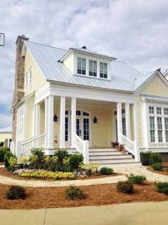 Exterior paint colors for house, cottage exterior, exterior house colors, p Cottage Exterior Colors, Yellow House Exterior, House Exterior Color Schemes, House Paint Exterior, Dream House Exterior, Exterior Design, Gray Exterior, Cottage House Exteriors, Exterior Paint Colors For House With Stone
