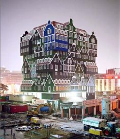 Hotel, in Zaandam, North of Amsterdam. Use the local architectural style; but in a very vertical way.