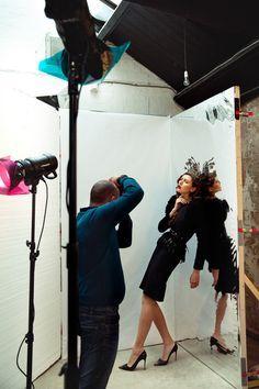 Gel lighting setup at Rossella Vanon fashion photography workshop in London, UK.