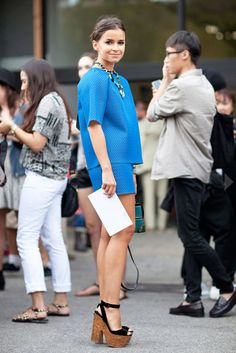 NYFW Street Style | Tibi - Official Site  love this look, electric blue is definitely a summer colour!