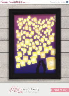 disney wedding tangled  paper lanterns  guest book by MDBWeddings