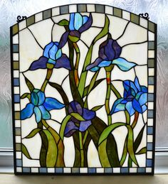 WP01 Handmade Tiffany Stained Glass Window Panel - Iris Design - Ideal Home/Gift