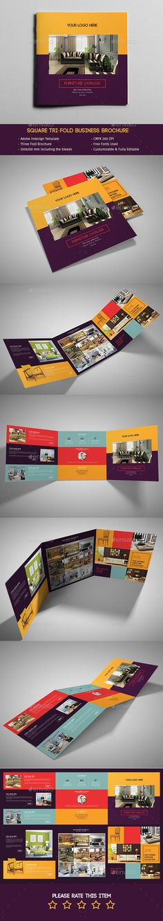 Furniture TriFold Square Brochure — InDesign INDD #trifold brochure #print template • Available here → https://graphicriver.net/item/furniture-trifold-square-brochure/11925930?ref=pxcr