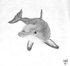 Dolphin by HoeNi on DeviantArt Sweet Drawings, Art Drawings For Kids, Fish Drawings, Horse Drawings, Animal Drawings, Dolphin Drawing, Dolphin Painting, Ocean Drawing, Dolphin Art