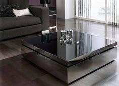 Espectacular mesa de centro cuadrada elevable en acero inoxidable con luces leds.
