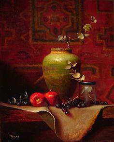 유 Still Life Brushstrokes 유 Nature Morte Painting by Tim Perkins | Green Vase with Persian Rug