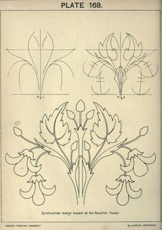 see site for many more - 1895 - Cusack's freehand ornament. A text book with chapters on elements, principles, and methods of freehand drawing, for the general use of teachers and students . by Armstrong, Charles Motif Arabesque, Ornament Drawing, Jugendstil Design, Bordado Floral, Illustration Art, Illustrations, Art Nouveau Design, Motif Floral, Leather Pattern