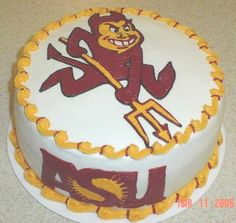 Asu Sundevil Sundevil and ASU logo outlined and filled in with buttercream. College Graduation Cakes, Graduation Party Favors, Graduation 2015, Graduation Ideas, My Dream Cake, First Communion Cakes, Paris Cakes, Horse Cake, Harry Potter Cake