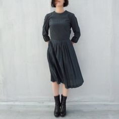 50s Day Dress Vintage Navy Blue Plaid Cotton Nelly Don