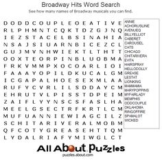 Printable Word Search Puzzles : Broadway Hits Word Search