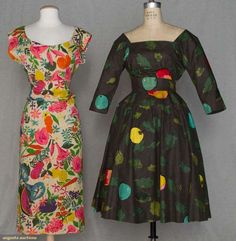 BONNIE CASHIN SUMMER DRESSES, 1945 & 1955:  bone raw silk w/ tropical floral print, bodice open in back w/ sash over modified bustle, 2-piece charcoal cotton w/ novelty apple print,