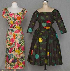BONNIE CASHIN SUMMER DRESSES, 1945 & 1955:  bone raw silk w/ tropical floral print, bodice open in back w/ sash over modified bustle, 2-piece charcoal cotton w/ novelty apple print, EEEEK LOVE them both!