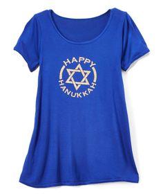 Royal Blue 'Happy Hanukkah' T-Shirt Dress - Toddler & Girls