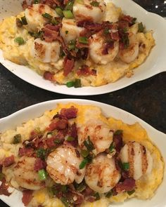"22 Likes, 6 Comments - shannon bergeron (@lowcarbshannon) on Instagram: ""Grilled scallops and cheddar bacon cauli-grits. Seriously, this is the best meal ever. #lowcarb…"""