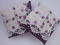 Pair Handmade Vintage Handkerchief Lavender Sachets Embroidered Violets by primrose on Etsy