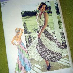 1974 Vintage Sewing Pattern  Halter Top  Bias MAXI by SelvedgeShop, $20.00