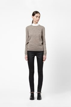 Leather patch jumper