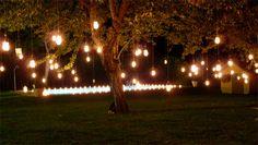 velas colgadas para jardines