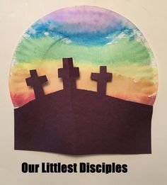Jesus – New Testament: Mark, Luke ande John -- 5 daily kids scripture lessons activities crafts for children Jesus crucified on the cross sunset paper plate easter good friday craft