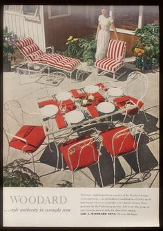 1949 Woodard Wrought Iron Valentine Table Chairs Photo Ad