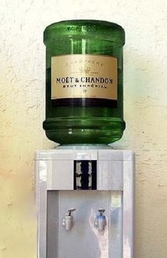 """I wonder how I can get one of these into work :) Moët & Chandon Brut Imperial Champagne """"Water"""" Cooler. Veuve Cliquot, Wine Dispenser, Agua Mineral, Moet Chandon, Water Coolers, In Vino Veritas, Oui Oui, Just In Case, Cheers"""