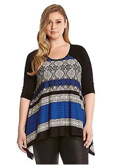 Karen Kane Plus Size Hanky Top #Karen_Kane #Plus #Size #Black #Blue #Moon #Lunar #Houndstooth #Stripe #Hanky #Top #Plus_Size #Fall #Fashion #Belk