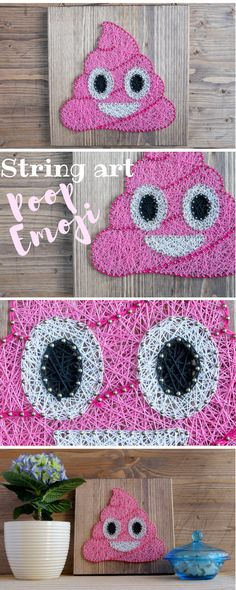 Modern string art pink poop emoji wall decor fun and colorful decor for you or as a gift for a friends or family Find the best DIY ideas on Yarn Crafts, Diy And Crafts, Arts And Crafts, Emoji, Arte Linear, Cuadros Diy, Nail String Art, String Art Patterns, Prego