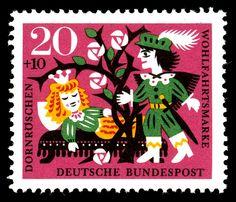 Art - Stamp Art - German - Juvenile - Brothers Grimm, Sleeping Beauty 1964 by Vintageprintable1, via Flickr