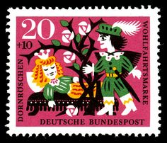 Sleeping Beauty . Brothers Grimm Classic Fairy Tales stamps, Germany