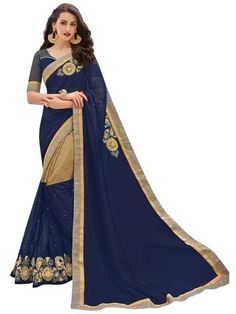 IWF-Violet and Golden Color Georgette and Rasal Net Saree - OR31055