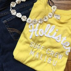 Yellow soft Hollister top! 60% cotton. 40% polyester. Super soft tshirt! worn once. No pulls or holes. Jeans pictured also for sale in my closet! BUNDLE AND SAVE Hollister Tops Tees - Short Sleeve