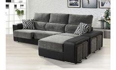 Sofá tres plazas deslizante y cabezal reclinable más puff arcón móvil. Venta flash