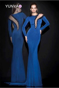 >> Click to Buy << Top design sexy see through heavy beading Bling Bling long navy blue mermaid prom dresses with long sleeves party gowns custom #Affiliate