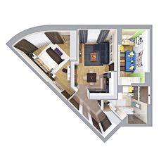 Объемная планировочная схема, вид сверху 3D на интерьер. Планировка квартиры 3D
