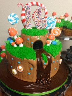 A fun Willy Wonka cake of the edible garden.
