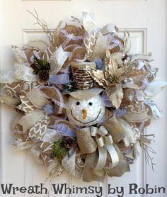 Cream & White Jute Mesh Winter Snowman Wreath, Holiday Wreath, Christmas Wreath, Neutral Holiday Decor, Snowman Decor, Front Door Wreath by WreathWhimsybyRobin on Etsy