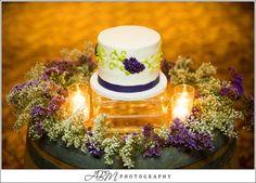 Cake on wedding barrel. Wine theme, rustic, country