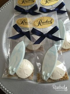 Chocolate Surfboard and Sand Dollar Candy Wedding Favors... Surfer, Beach, Destination Wedding www.rosebudchocolates.com