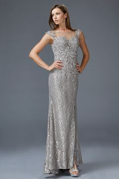 G2008 Cap Sleeve Lace V-Back Mother of the Bride Dress Evening Gown