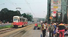 street with tram Poland, 1970s, Street View, Historia